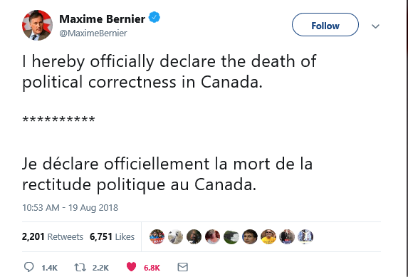 Above: Maxime Bernier declaring the end of something he actually has no control over.
