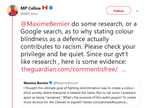 Above: A Canadian MP who holds a position of power, will receive a generous pension, and was voted into power by fellow citizens, complains endlessly about how racist the country she lives in is. She invites you to feel guilt and shame and help her in her giant struggle against oppression by voting for her party.