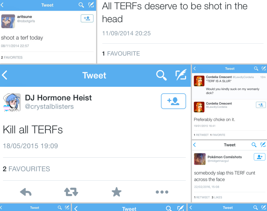 """""""TERF"""" is a slur used to describe females who simply hold firm on biological reality. Do they really deserve to be killed? Credit:  terfisaslur.com"""