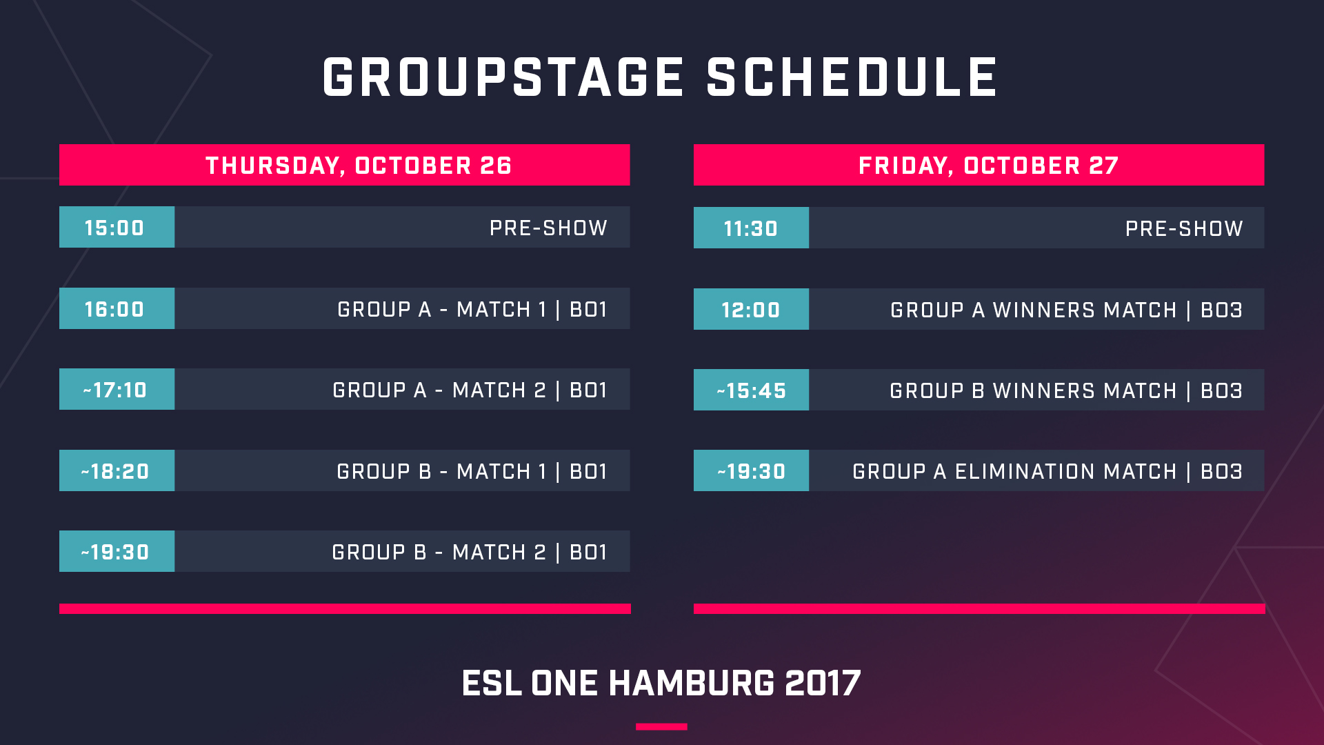 Group Stage schedule - Image: ESL