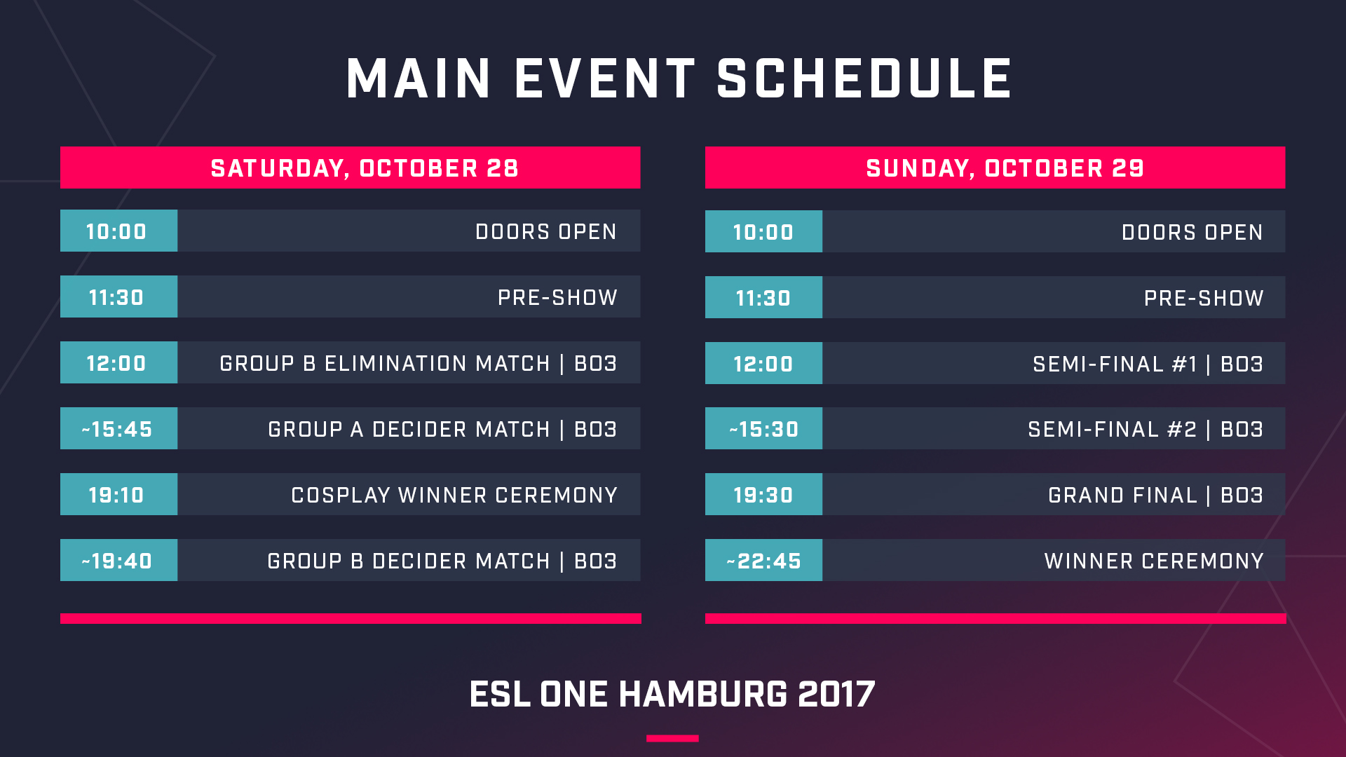 Main Event schedule - Image: ESL