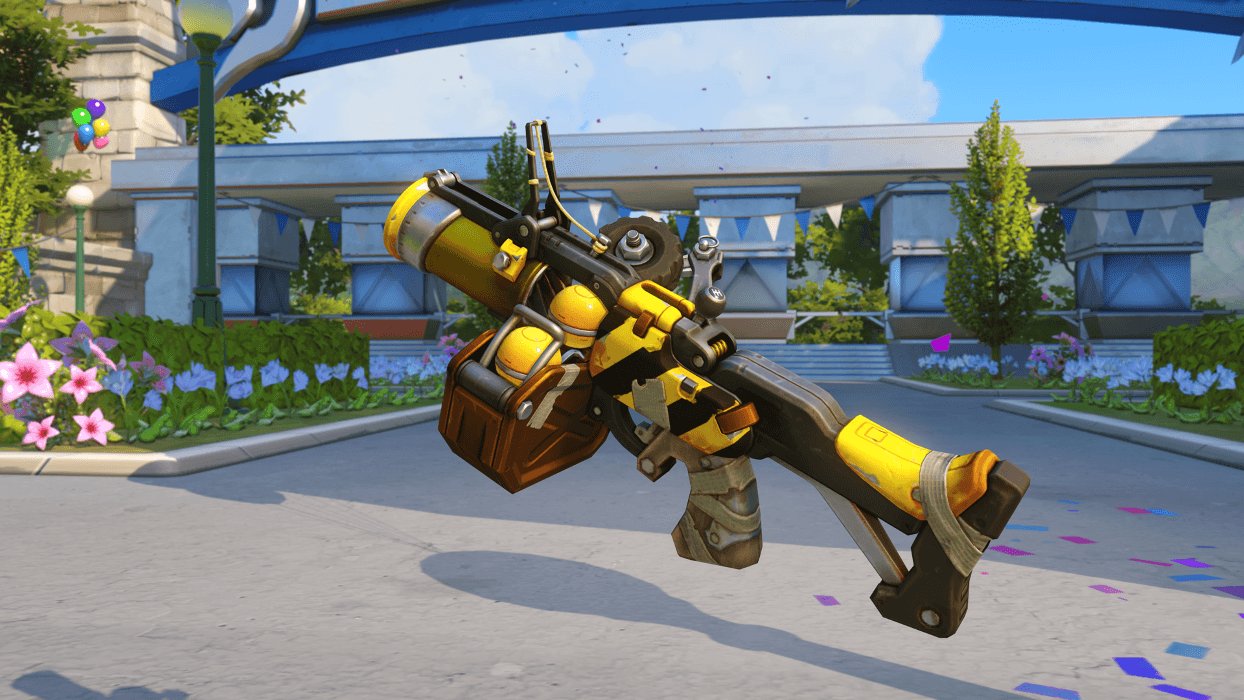 Junkrat Caution gun Blizzard World Overwatch