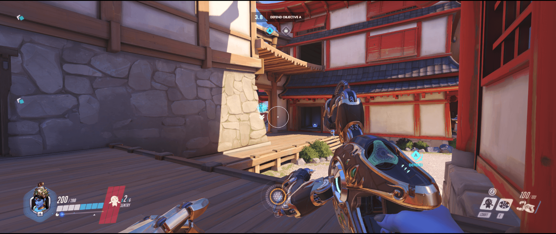 Symmetra Shield Generator spot Hanamura behind bridge range 2 point one.png