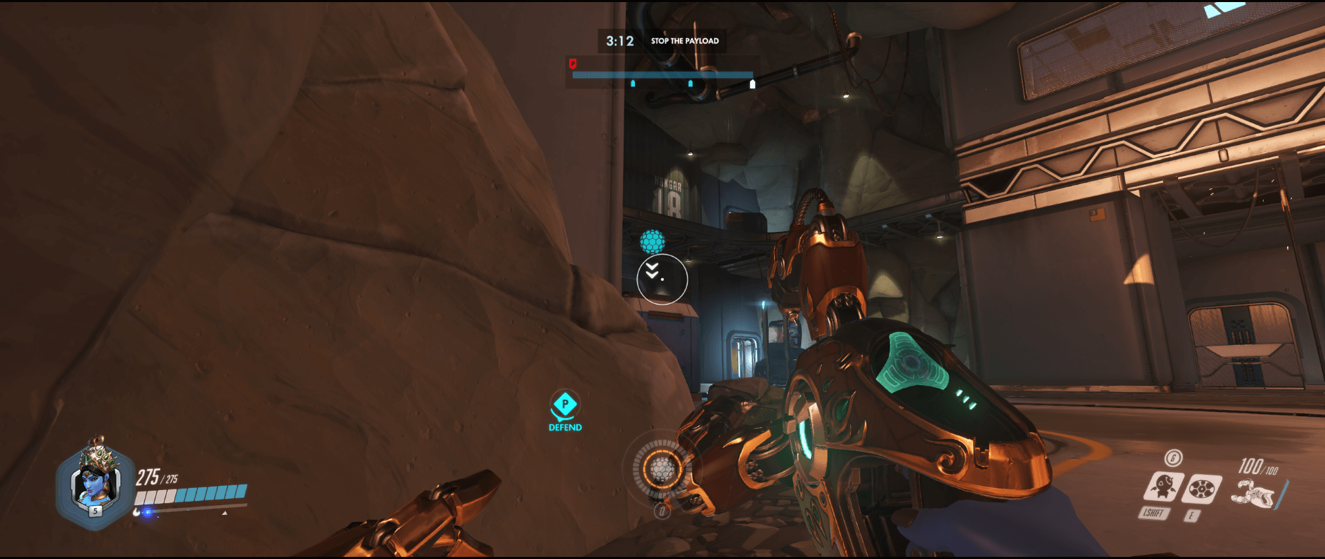 Symmetra shield generator spot Watchpoint Gibraltar left high ground range first point.png