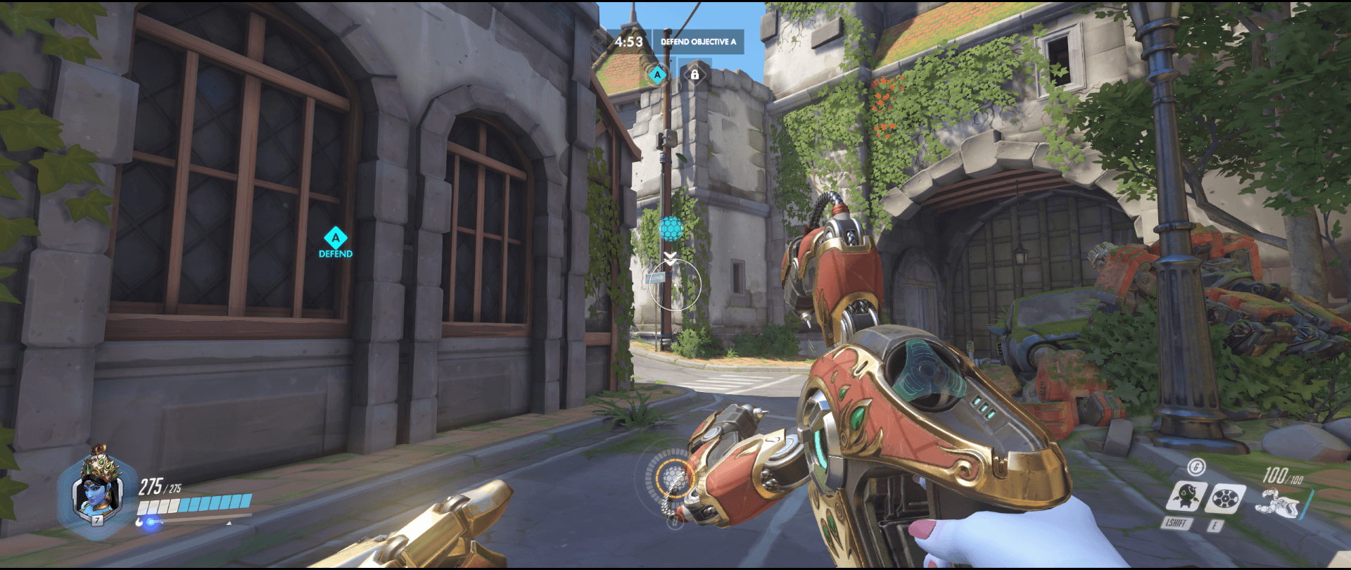 Symmetra shield generator spot Eichenwalde  range side spot first point.png