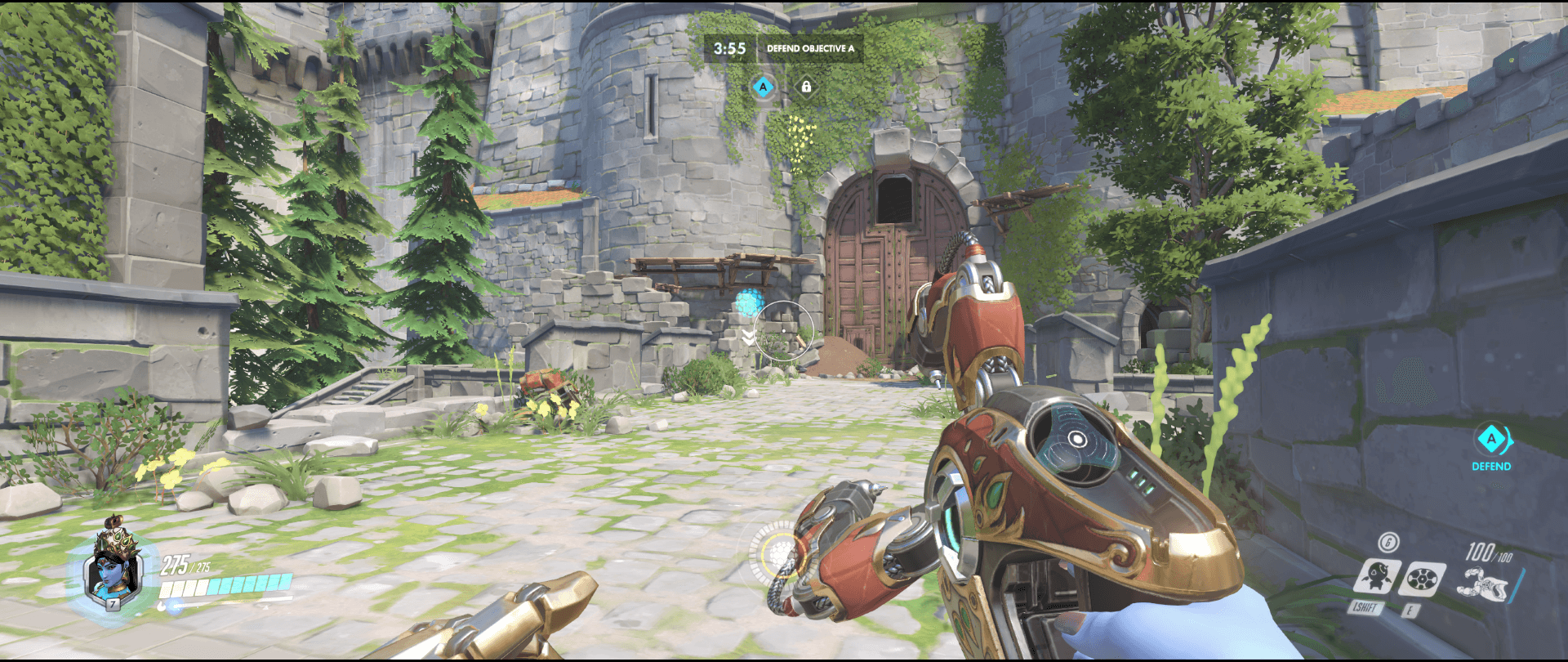 Symmetra shield generator spot Eichenwalde main range second point.png