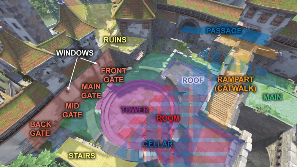 Eichenwalde map callouts three Overwatch