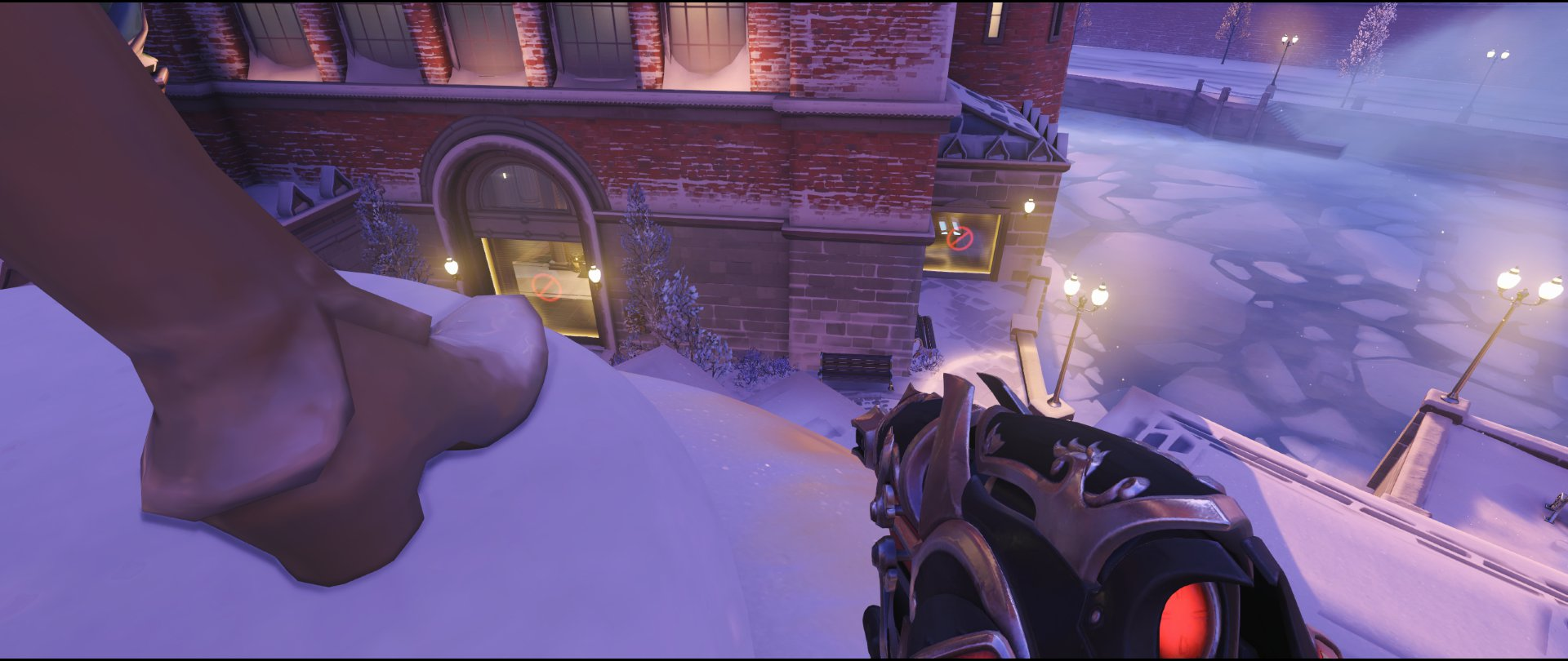Shrine right statue defense sniping spot Widowmaker Volskaya Industries Overwatch.jpg
