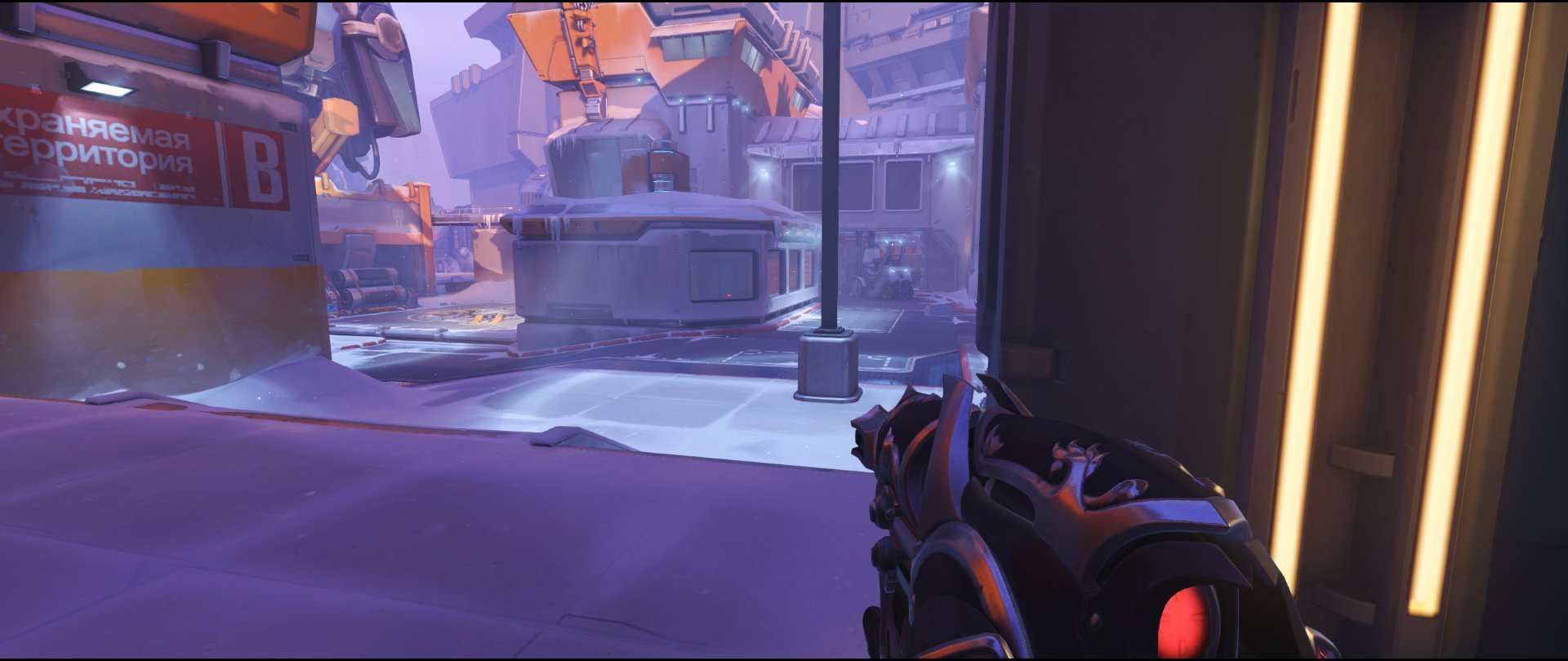 Garage area attack sniping spot Widowmaker Volskaya Industries Overwatch.jpg