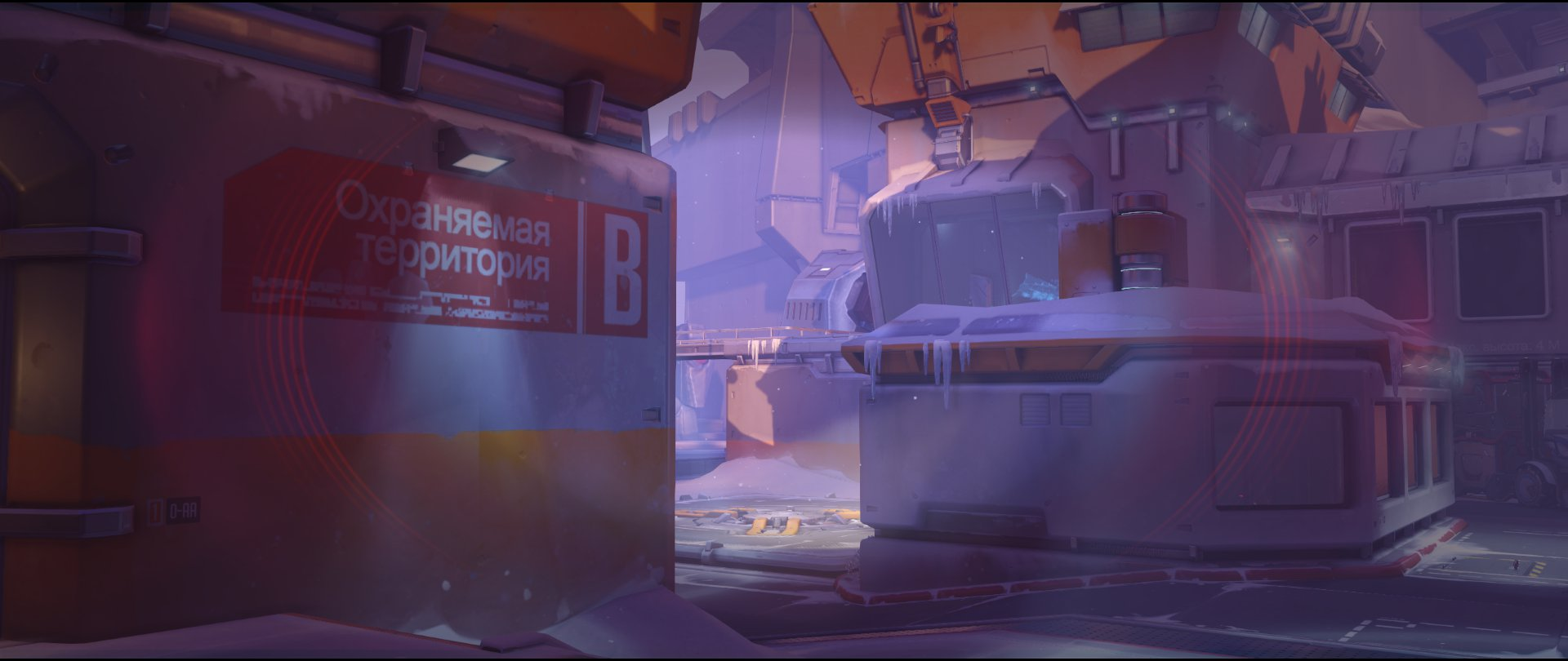 Garage view to high ground sniping spot Widowmaker Volskaya Industries Overwatch.jpg
