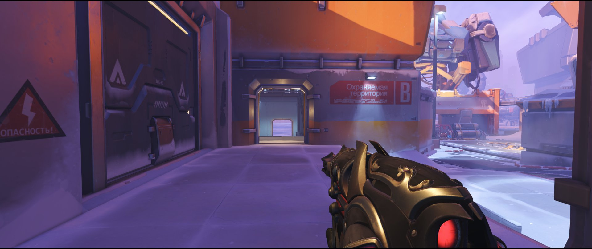 From Garage to Comms attack sniping spot Widowmaker Volskaya Industries Overwatch.jpg