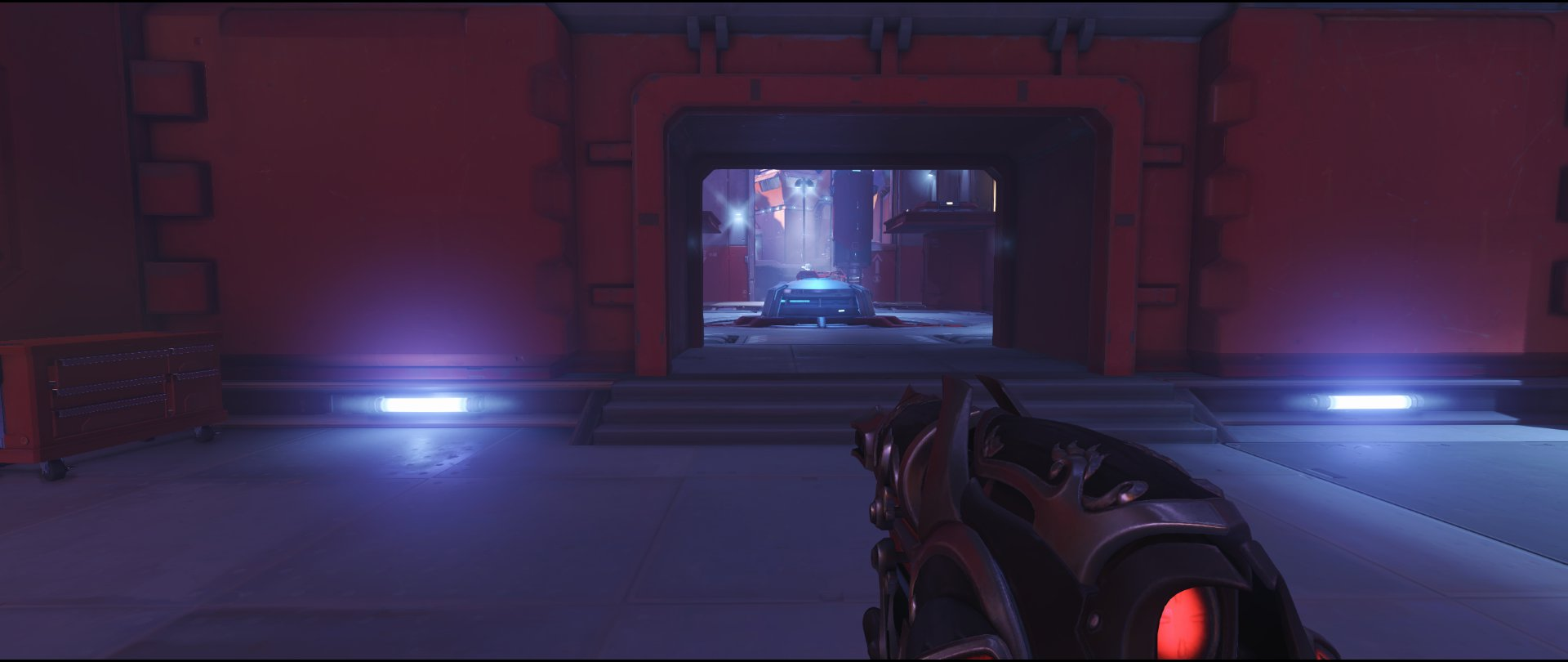 Mid spawn ground level defense sniping spot Widowmaker Volskaya Industries Overwatch.jpg
