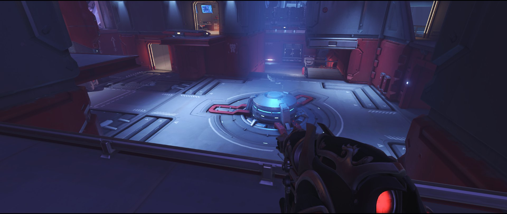 Left side high ground bridge defense sniping spot Widowmaker Volskaya Industries Overwatch.jpg
