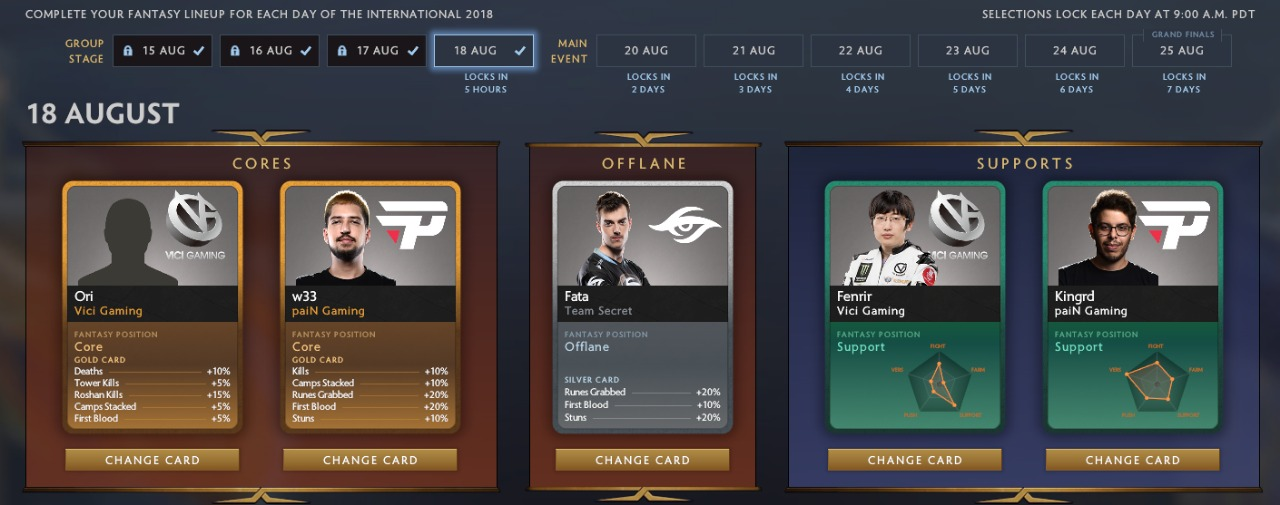 Group Stage day 4 cards.