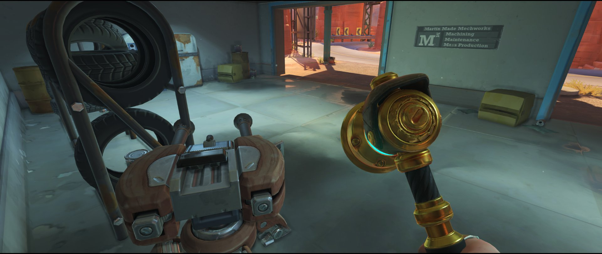 Inside Gas Station turret placement Torbjorn Route 66 Overwatch