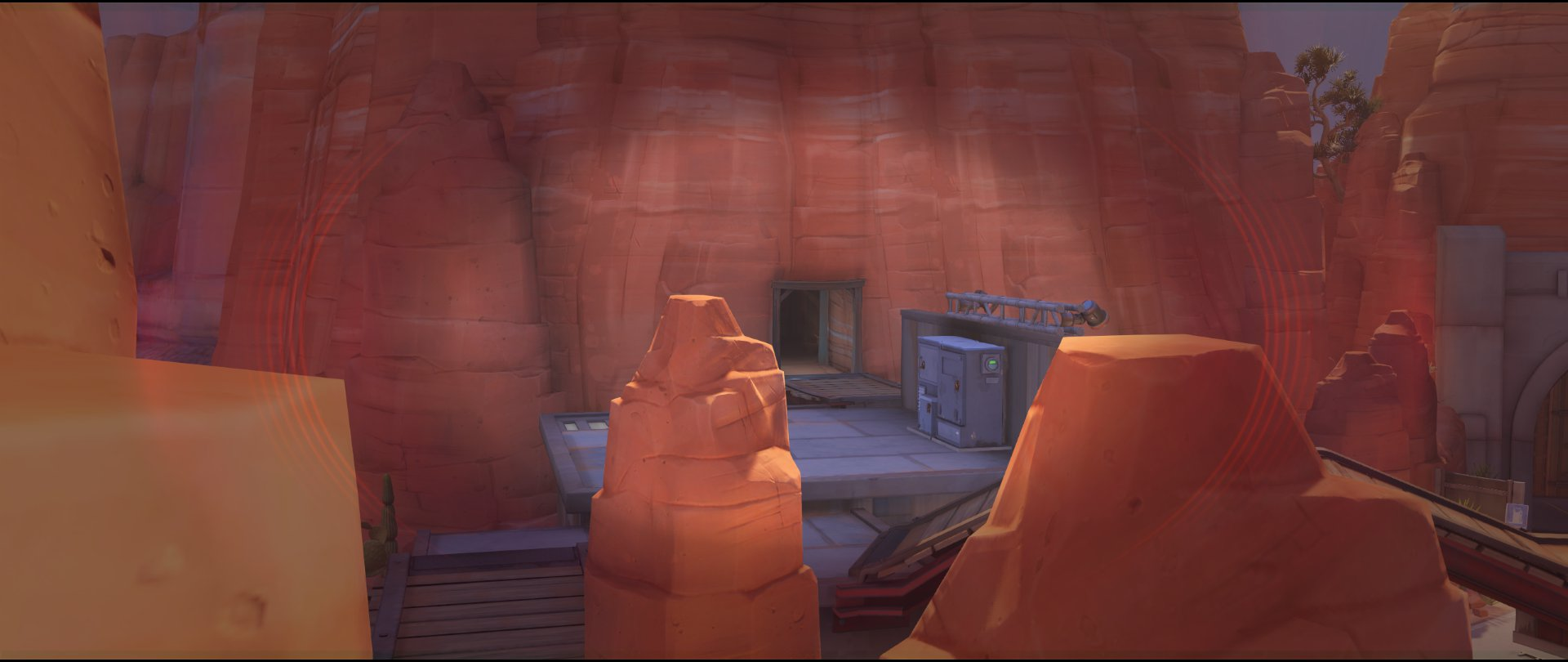 Small roof on catwalk to side spawn entrance defense sniping spot Widowmaker Route 66.jpg