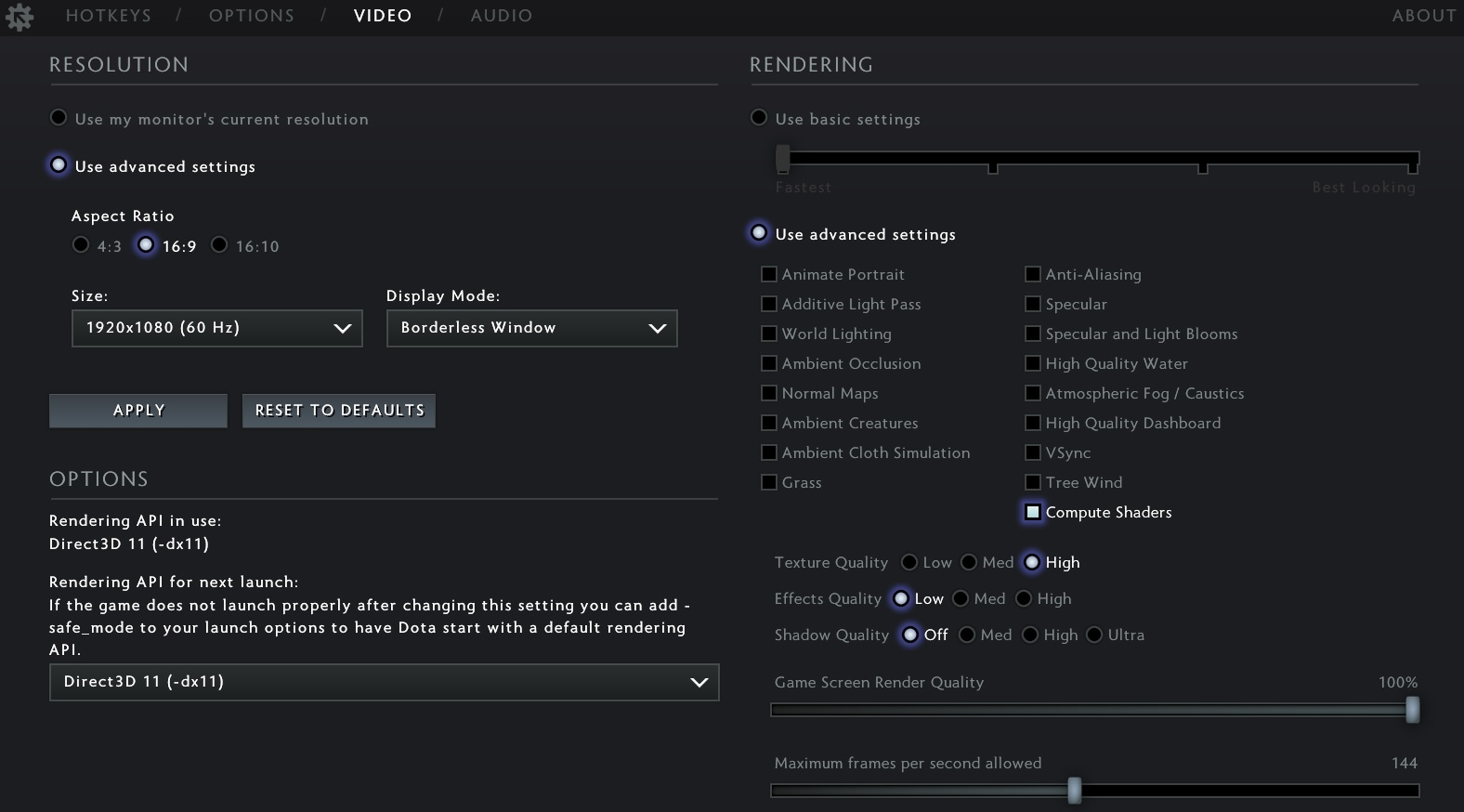 How to increase FPS in Dota 2: video settings and launch options