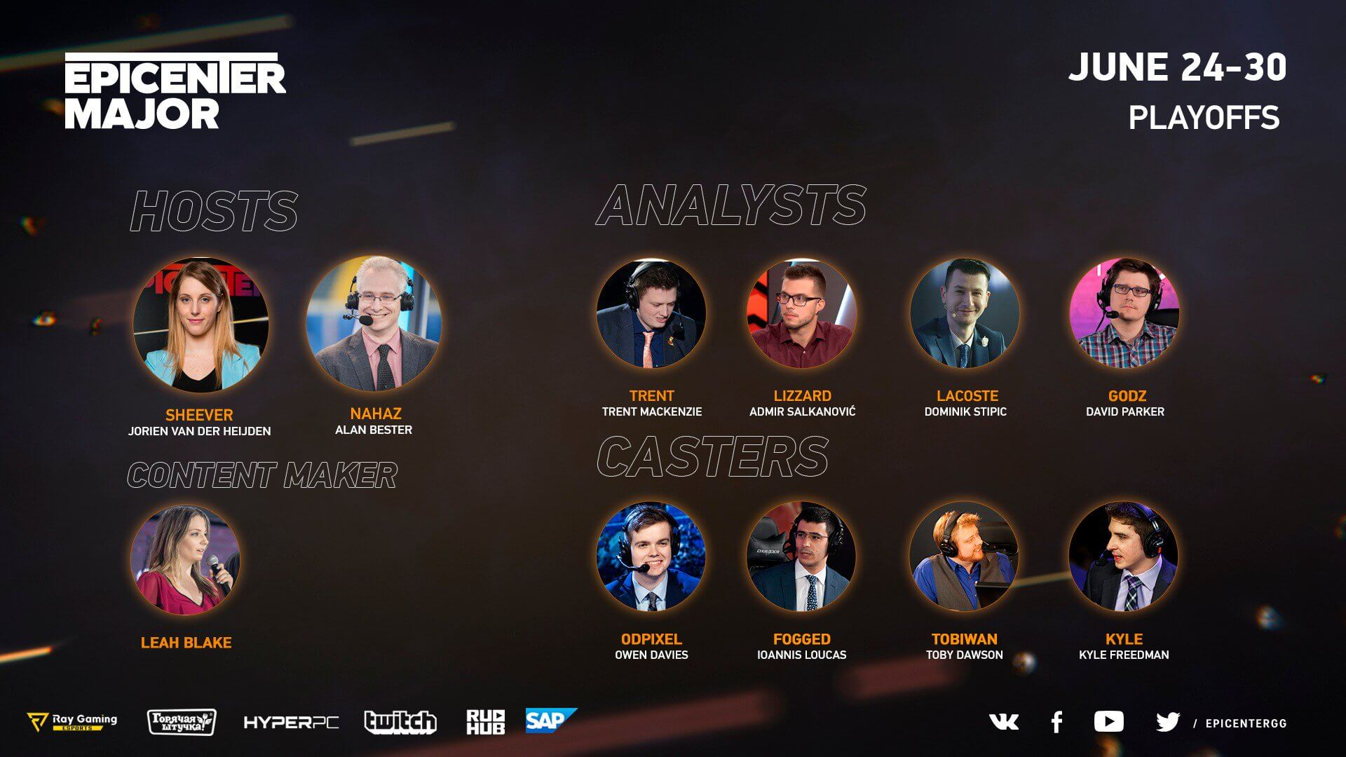 Talent List - EPICENTER Major 2019 - Epic Esports Events
