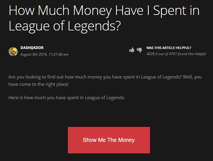 League of Legends money spent
