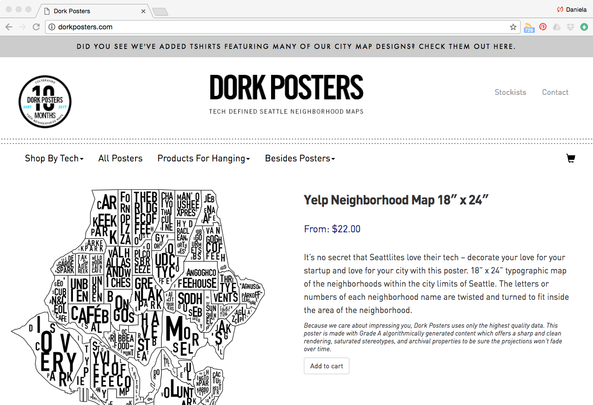 A screenshot of the Dork Posters website, a design parody.