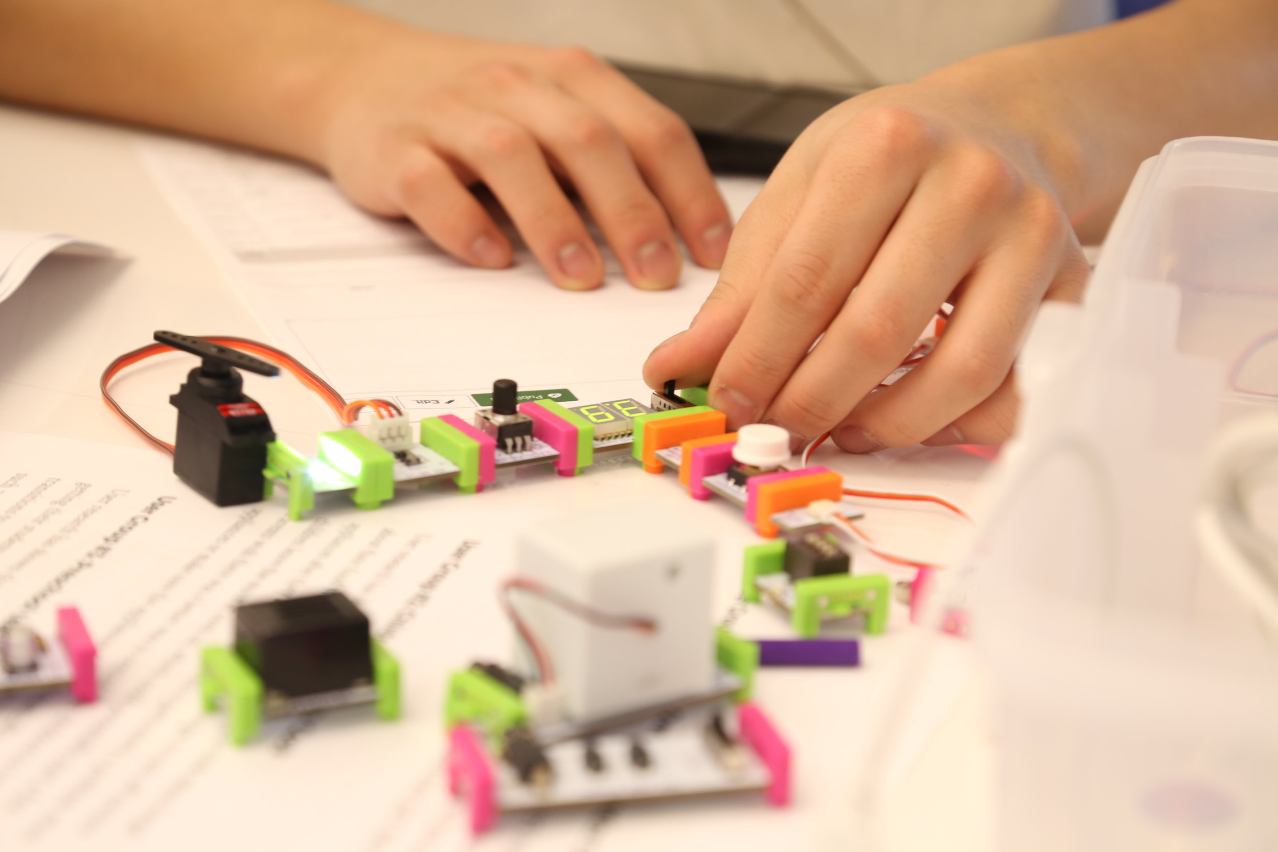 A student working on an in-class exercise from our week on rapid physical prototyping.