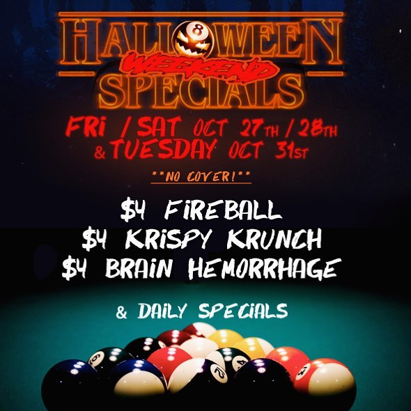 "#Halloween #Specials #Friday #Saturday oct27/28 & Halloween! #NoCover and the #party is all night. Enjoy some #billiards and ""BOO-ze"" • • • • • #booze #yaletown #yvr #vancity #vancouver #helloweekend #spooky #shots #liquor #poolhall #strangerthings #soho #pumpkin #fireball #whiskey"