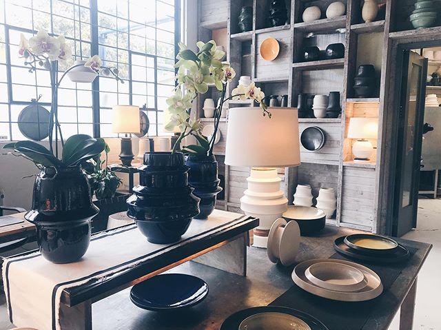 Early morning light in the gallery! #mirimaraceramics #carpinteria #california #ceramicstudio #artgallery #californiamade #slipcasting #handmade #lighting