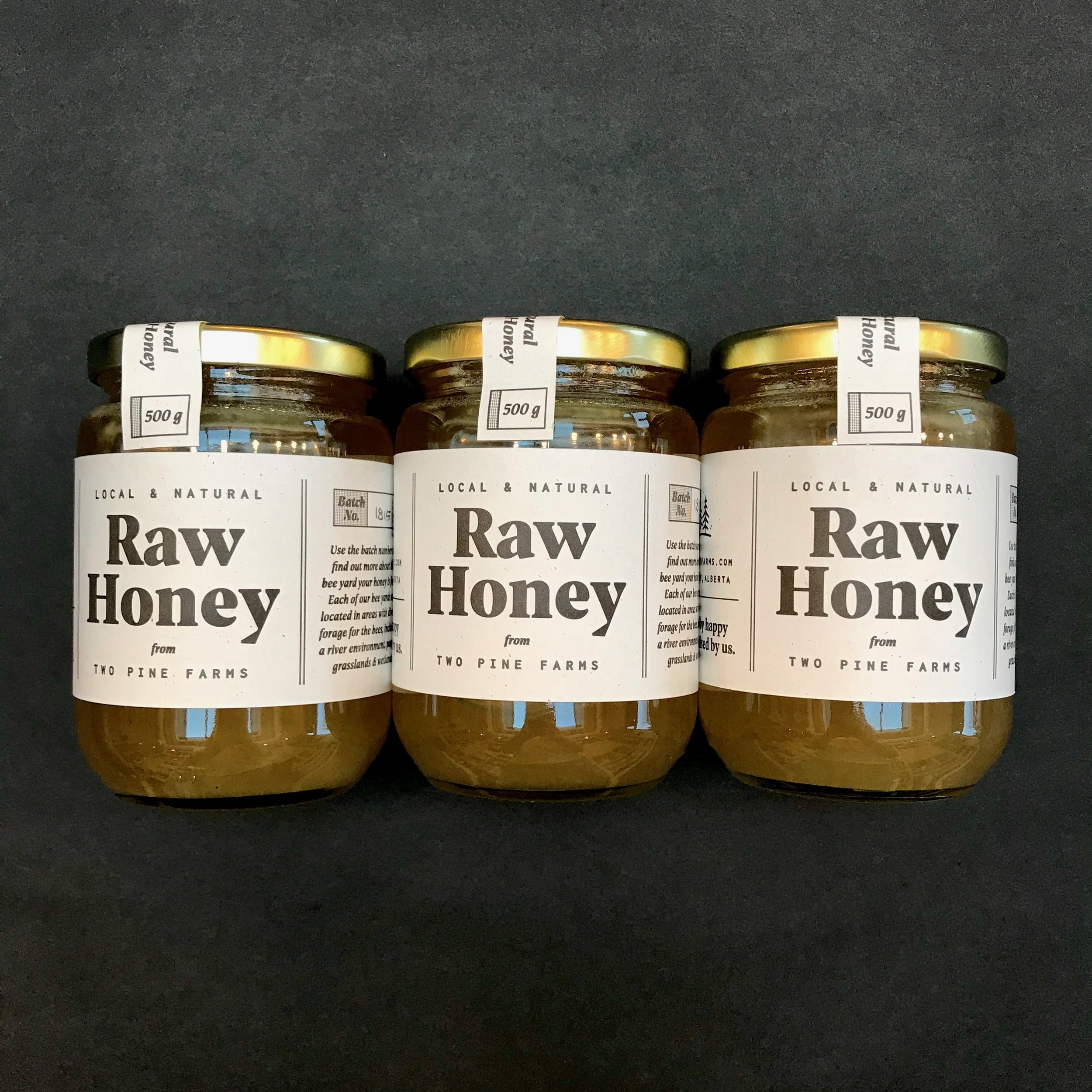 After relentless hounding, Two Pines Farms finally gave in and sold us their honey.  All joking aside, this honey tastes amazing, is traceable and they just released new packaging designed by our friends over at Feast Letterpress.  If you look on each jar you can see the batch number of the honey you purchased.  You can take that batch number over to their website and see where the bees were hanging out and doing their thing.  How cool is that!