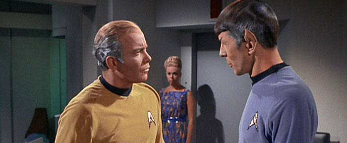 """OLD KIRK:  """"Remember that chick from 'Mark of Gideon'?""""                     OLD SPOCK: """"Viagra is logical."""""""