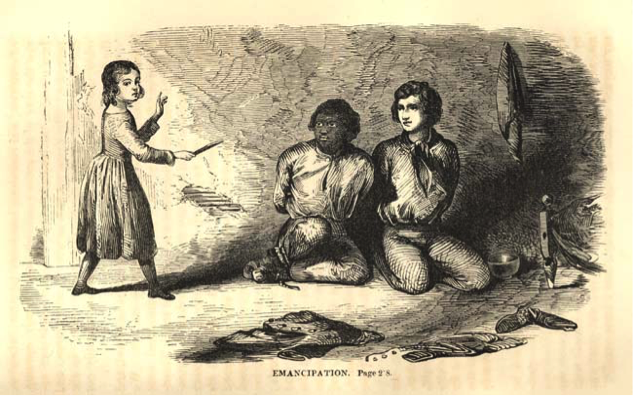 Illustration of Thomas and Archy in book The White Slave. In this scene, Archy and Thomas have been captured. A little girl sneaks in to free them, leaving the two men with a boundary-defining decision.