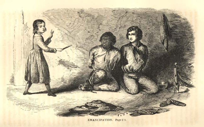 Illustration of Thomas and Archy. In this scene, Archy and Thomas have been captured. A little girl sneaks in to free them, leaving the two men with a boundary-defining and -supporting decision, however painful and reluctantly made