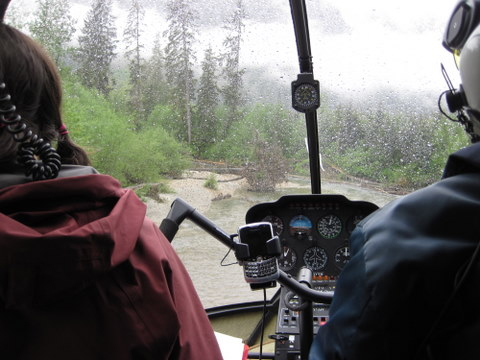 Don landing in a tight spot in the pouring rain