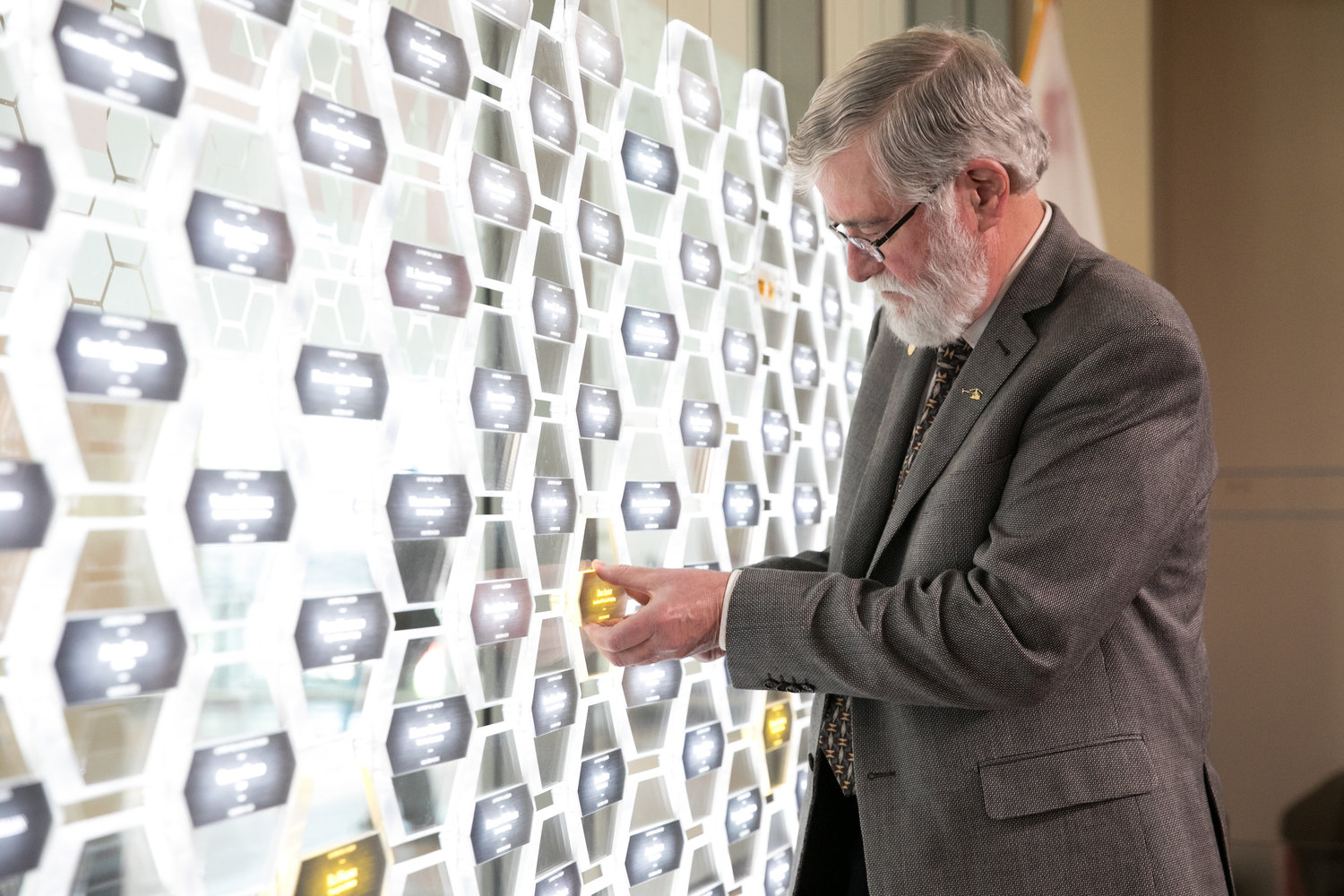Don places his hexagon in the iconic Gallery of Icons inside NIHV Alexandria, VA based museum.
