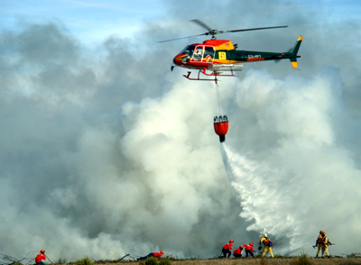 The Bambi Bucket product line literally includes the right product for just about every class and model of helicopter. (Photo courtesy of SEI Industries)