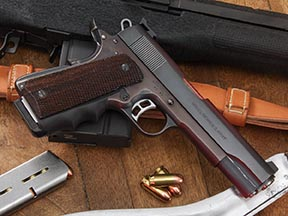 The upper (slide mechanism) of this Colt 45 is of World War I vintage. The lower frame, an Essex, was added at some time in the long life of this gun. With a few modern alterations, I used it briefly in competition.