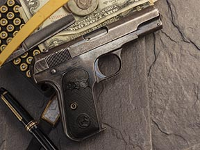 Known as the model of 1903, this example of the nifty 32 caliber semi-auto colt pistol, according to serial number information, was shipped in 1910 or 1911. Despite age and obvious wear, it shoots flawlessly.