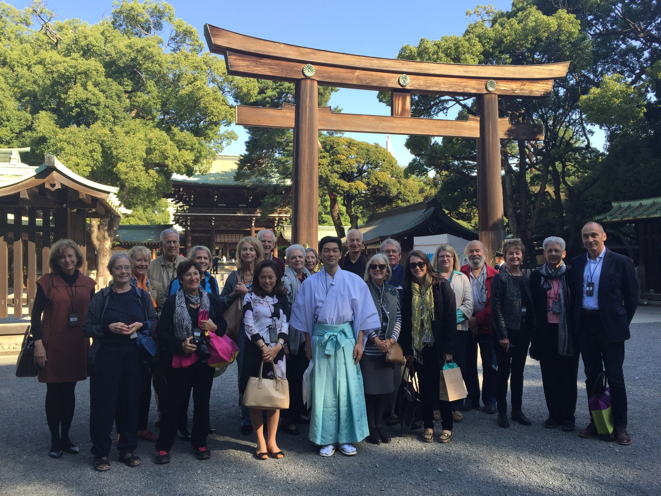 The Phillip's Collection Japan Tour Group outside Meiji Shrine