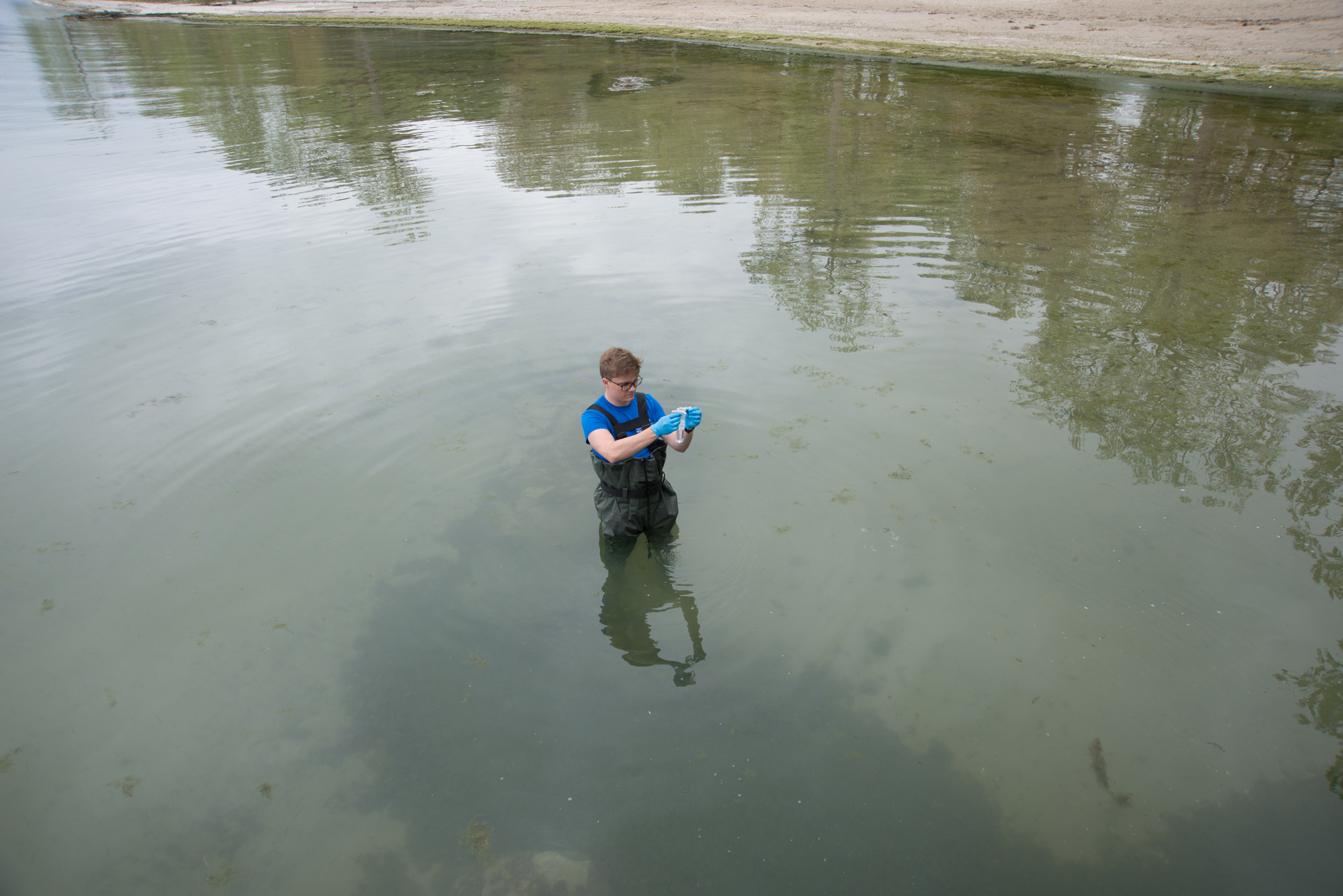 Swim Drink Fish staff monitoring in Fort Erie on Lake Erie