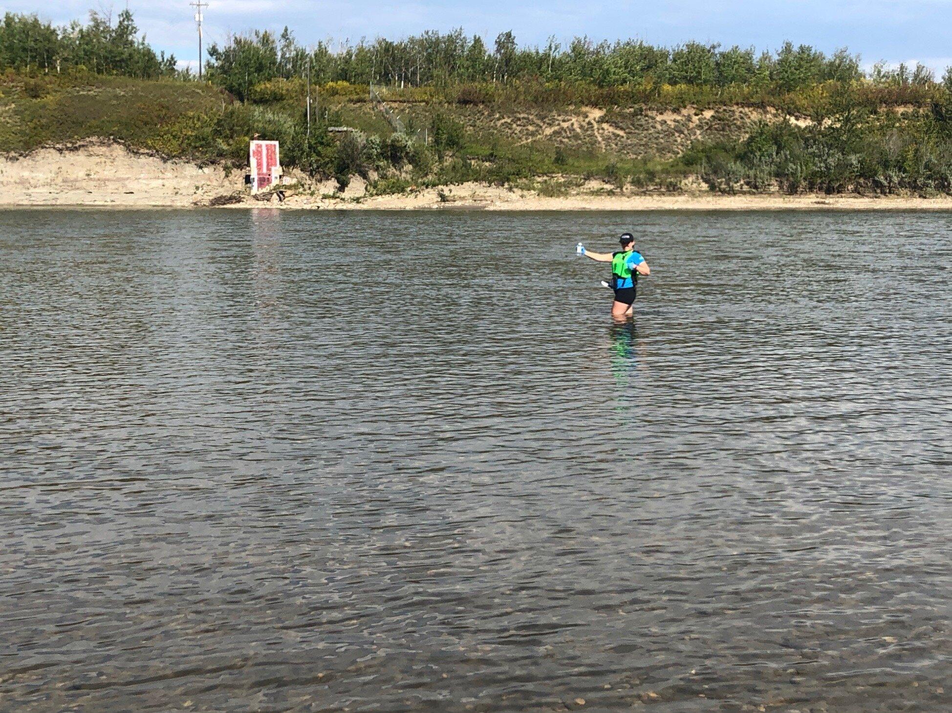 Swim Drink Fish staff monitoring the North Saskatchewan River