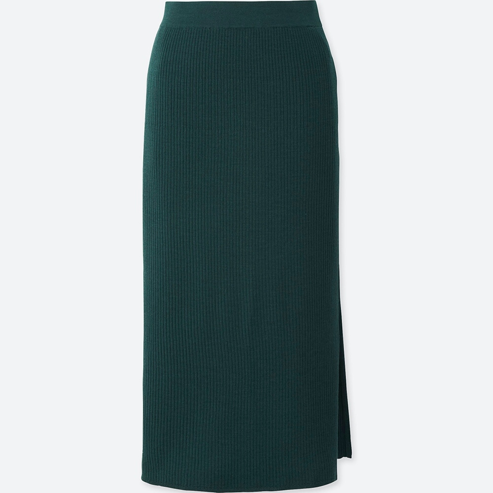 A slim merino skirt looks polished but feels better than sweats. - Uniqlo
