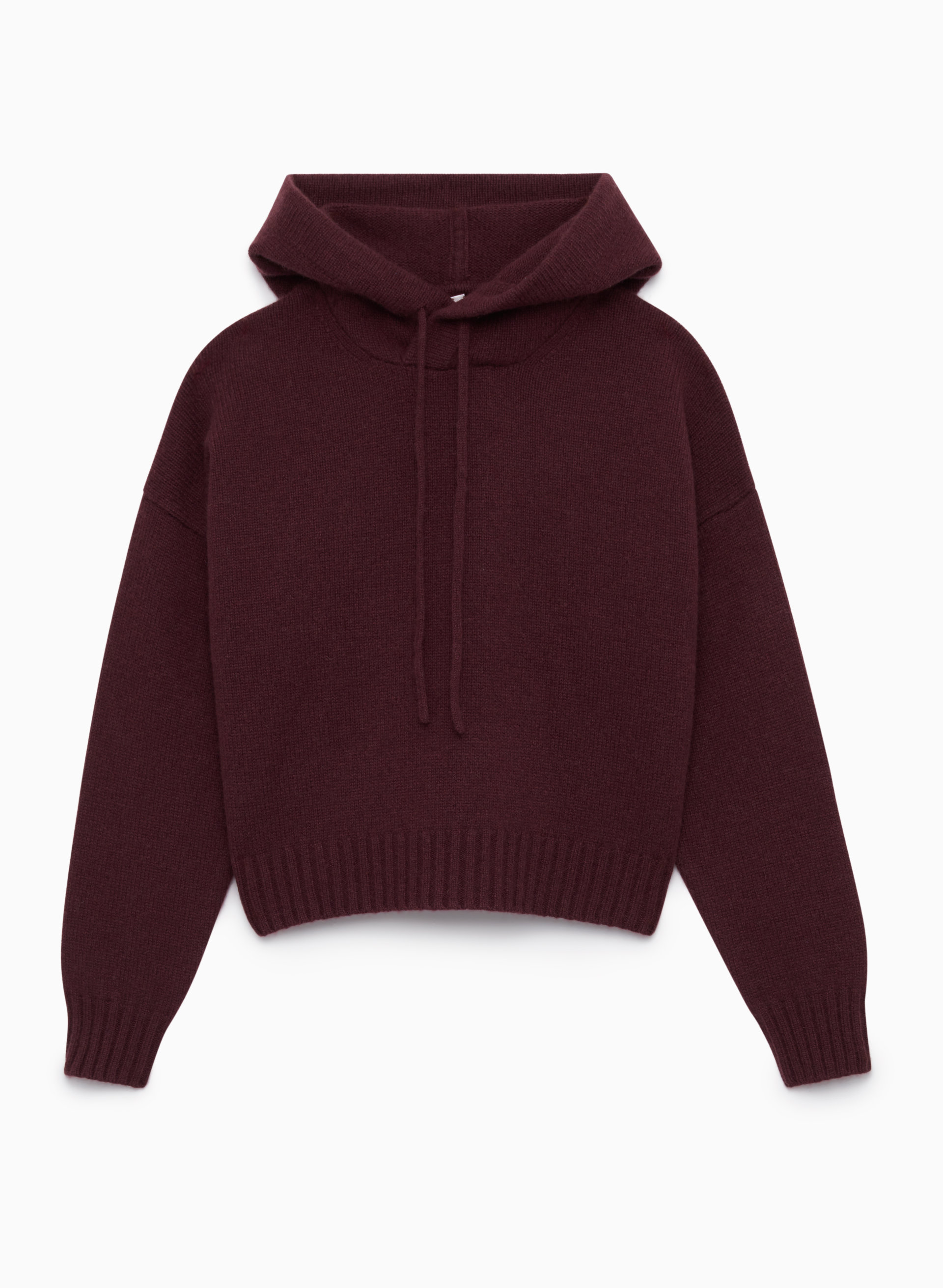 A cranberry-hued cashmere cropped hoodie is festive and fun. - Aritzia