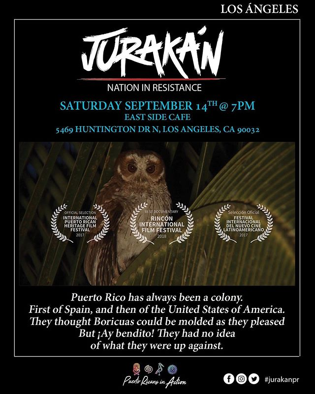 Community Events: We are looking to a September full of #free #Boricua events! We hope to see you all there. . . September 14th, A Free Film Screening of @jurakandocupr & Q&A session with film makers @eastsidecafela. . . September 20th, we'll be having our 2nd Annual Hurricane Maria Vigil @mofongosla. . . September 21st, Our 2nd Annual Hurricane Maria Remembrance & Resiliency event at the Gabrielino Tongva Springs Fondation. . . . September 22nd, @peace_inside_out Birthday Celebration & Beach Bombazo in Long Beach.  #Caliricans #boricuainla #LBC #puertorico #puertoricansincaction #hurricanes