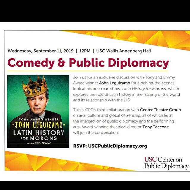 FREE Community Event! RSVP link in our bio . What: LATIN HISTORY FOR MORONS: COMEDY & PUBLIC DIPLOMACY . When: Wednesday, September 11, 2019 . Event run time: 12-1:30pm Location: Wallis Annenberg Forum (3630 Watt Way) . . We'd love your help to spread the word! . #USC #johnleguizamo #latinhistoryformorons #comedy #diplomacy #writing #poetry #puertoricansinaction #caliricans #boricuasinla