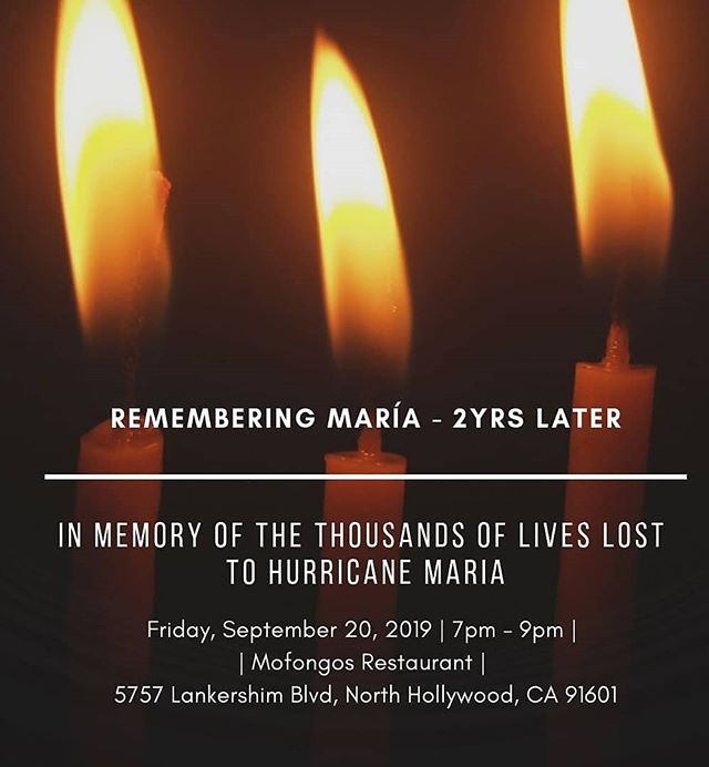 starting tomorrow through Sunday, from Los Angeles to Long Beach there will be a Candlelight Vigil, the 2nd Annual Hurricane Maria Remembrance and Resiliency and a Beach Bombazo!  Thank you to our partners @mofongosla @uclaaisc @peace_inside_out, and our Media Sponsor @kpfk  We hope you'll come build community with us! . . .#Boricuas #puertorico #puertoricansinaction #boricuasinla  #losangelesboricuas #calirican #socal4pr #la4pr #boricuasincalifornia