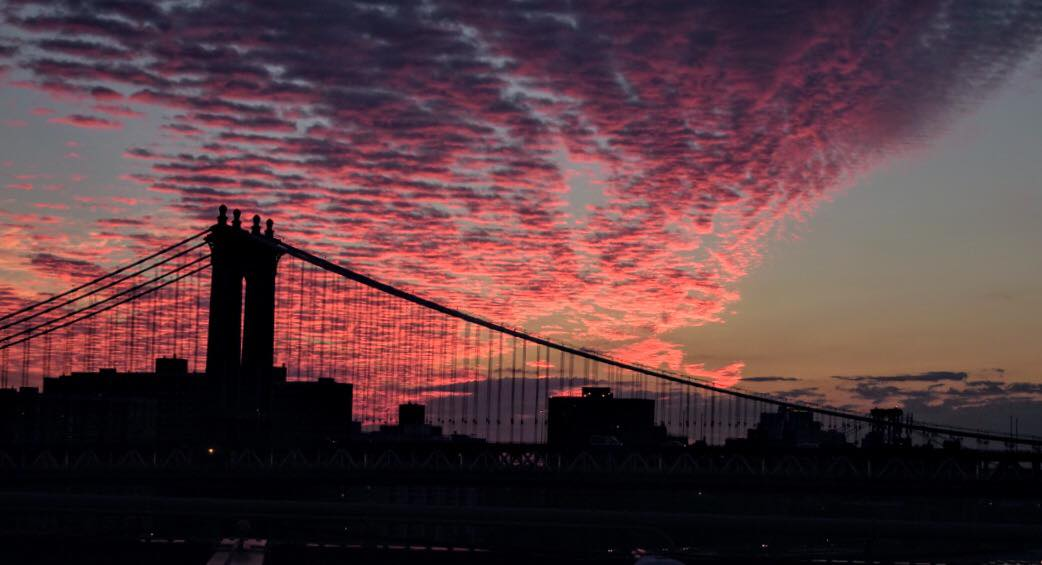minutes before the first sunrise of summer – from the brooklyn bridge
