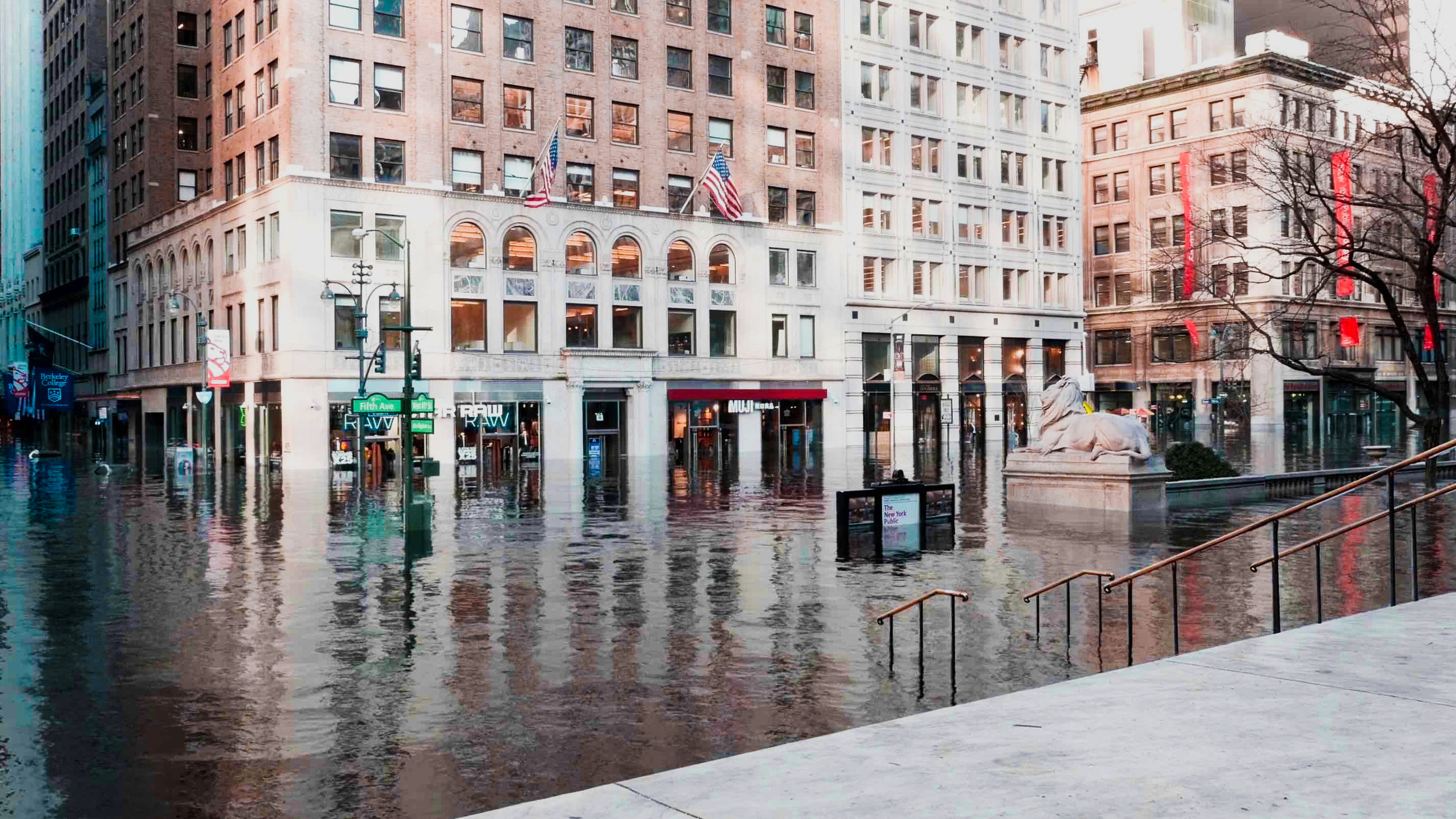 Can you imagine Fifth Avenue underwater? This is how it would look like from the New York Public Library stairs
