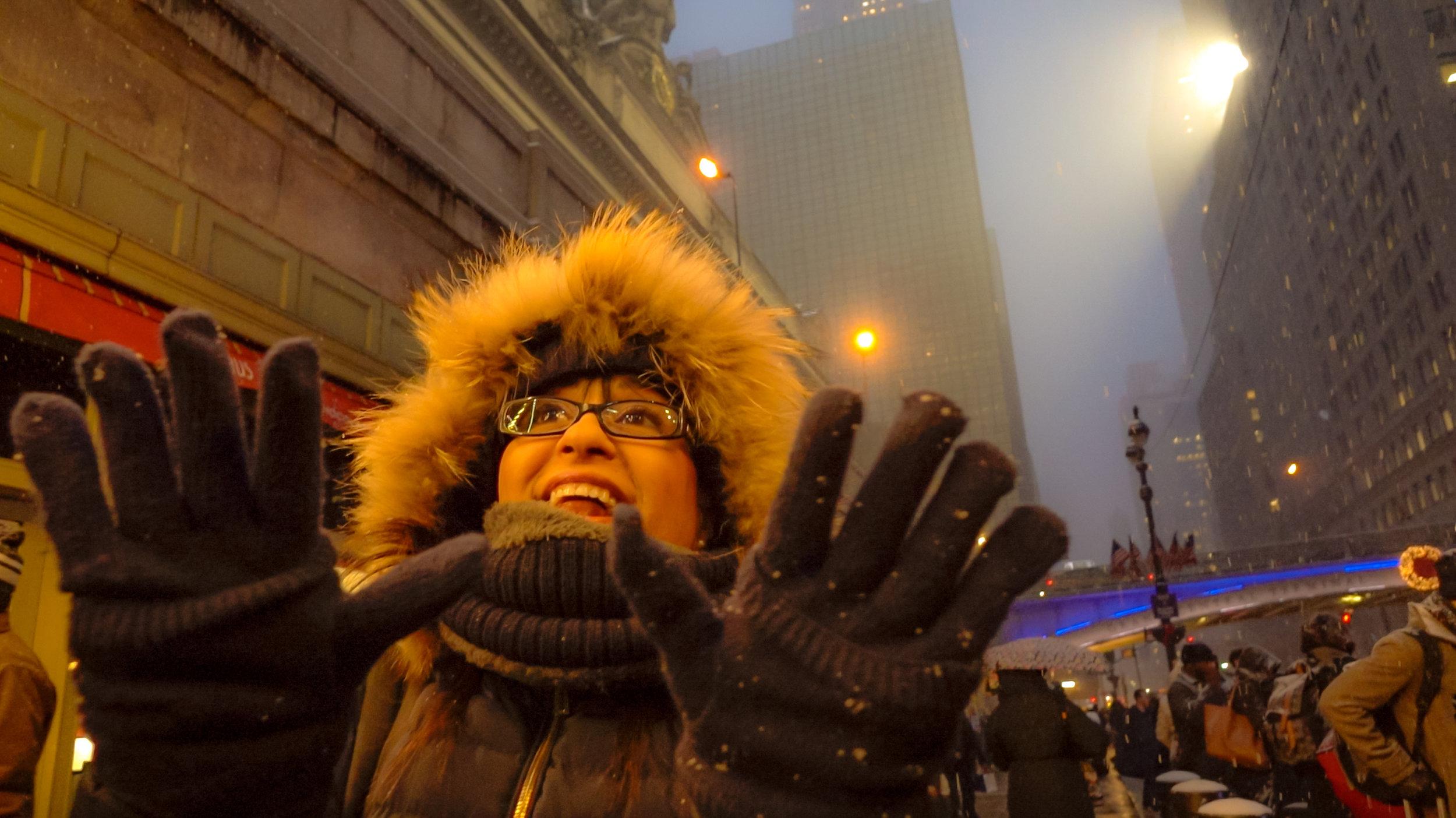 LA Piccola Italiana enjoying snow in front of Grand Central Terminal