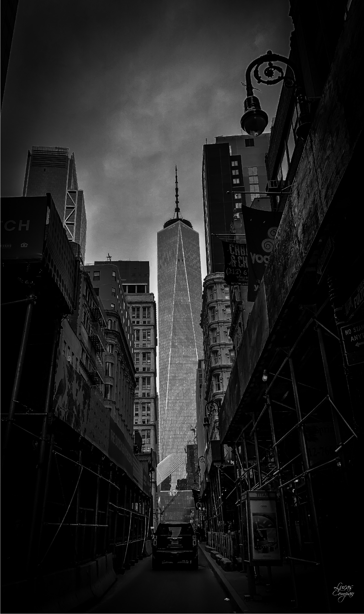 there's a storm coming. fulton street, lower manhattan, new york city.
