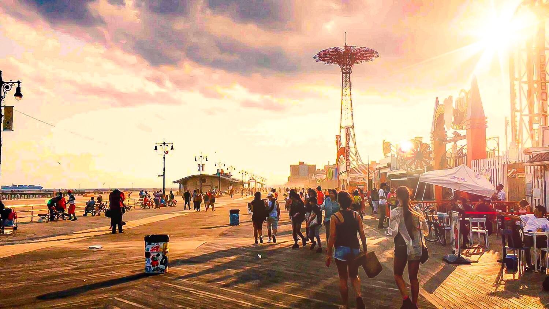 the classic famous boardwalk in coney island, in front of luna park, brighton beach