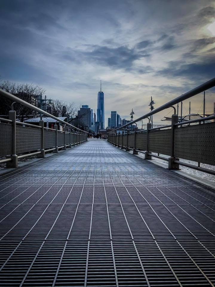 a path to freedom – in hudson river park, looking at the one world trade center (A.K.A. freedom tower)